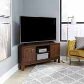 Bungalow Low Profile Corner Entertainment Stand, Medium Brown, 50''W x 22''D x 24''H