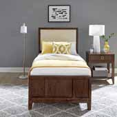 Bungalow Twin Bed and Night Stand, Medium Brown