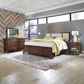 Bungalow King Bed, Night Stand and Dresser with Mirror, Medium Brown