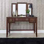 Bungalow Vanity & Mirror, Medium Brown, 46''W x 19''D x 54-1/2''H