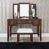 Bungalow Vanity with Mirror & Bench, Medium Brown, Vanity: 46''W x 19''D x 54-1/2''H, Bench: 18-1/2''W x 16-1/2''D x 18''H