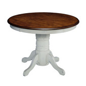 The French Countryside Oak and Rubbed White Pedestal Table, 42'' W x 42'' D x 30'' H