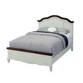The French Countryside Oak and Rubbed White Queen Bed, 66'' W x 89'' D x 58'' H