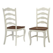 The French Countryside Oak and Rubbed White Dining Chair, 18-3/4'' W x 21-1/2'' D x 40'' H, Per Pair