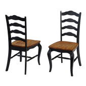The French Countryside Oak and Rubbed Black Dining Chair, 18-3/4'' W x 21-1/2'' D x 40'' H, Per Pair