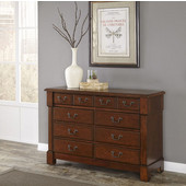 Aspen Collection 8-Drawer Dresser with Bold Recessed Picture Frame Moldings, Rich Carved Detail Posts, and Antique Brass Hardware Pulls in Rustic Cherry