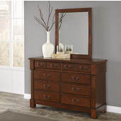Aspen Collection 8-Drawer Dresser with Rich Carved Detail Posts, Bold Recessed Picture Frame Moldings, Antique Brass Hardware and Matching Wall Mirror in Cherry