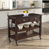 Country Comfort Kitchen Cart w/ Wood Top, Aged Bourbon, 46''W x 20-1/2''D x 35-1/4''H