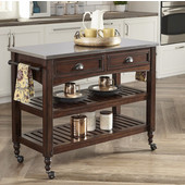 Country Comfort Kitchen Cart w/ Stainless Steel Top, Aged Bourbon, 46''W x 20-1/2''D x 35-1/4'''H