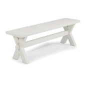 Seaside Lodge Trestle Bench, White Painted, 54'' W x 14'' D x 18'' H