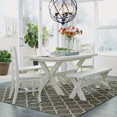 Seaside Lodge 5-Piece Dining Set, Includes Dining Table, (2) Dining Chairs and (2) Trestle Benches, White Painted, 60'' W x 38'' D x 30-1/4'' H