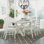 Seaside Lodge 7-Piece Dining Set, Includes Dining Table and (6) Dining Chairs, White Painted, 60'' W x 38'' D x 30-1/4'' H