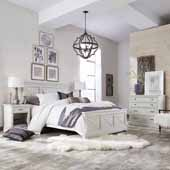 Seaside Lodge Queen Bed, Night Stand, and Chest, White