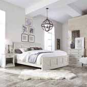 Seaside Lodge King Bed, Night Stand, and Chest, White