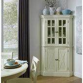 Seaside Lodge Corner Cabinet In White, 40''W x 16-1/4''D x 72-1/4''H