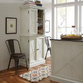 Seaside Lodge Kitchen Pantry in Hand Rubbed White, 30-1/2'' W x 18-1/4'' D x 72'' H