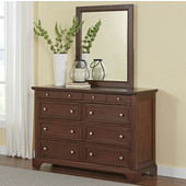 Chesapeake Dresser with Top Two Smaller Drawers Felt Lined for Jewelry and Traditional Matching Wall Mirror in Aged barnside