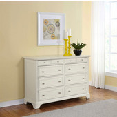 Naples 8-Drawer Dresser with Raised Panels, 2-Small Top Drawers with Felt Lined Bottoms, and 6-Larger Drawers in White