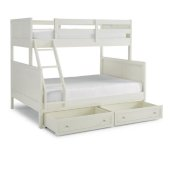 Naples Collection Twin Over Full Bunk Bed with Storage Drawers in Off White, 78-3/4'' W x 58-1/2'' D x 64-3/4'' H