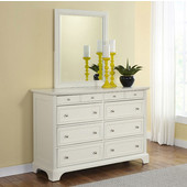 Naples 8-Drawer Dresser with Brushed Nickel Hardware and Matching Wall Mirror in Black