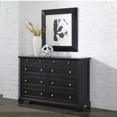 Bedford 8-Drawer Dresser with Raised Panels, 2-Small Top Drawers with Felt Lined Bottoms, and 6-Larger Drawers in Black