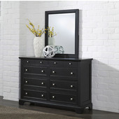 Bedford 8-Drawer Dresser with Brushed Nickel Hardware and Matching Wall Mirror in Black