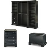 Bedford 5-Piece Closet Organizer in Satin Black, 25'' W x 20'' D x 82'' H, (3-Piece Wall Unit, 30'' Closet Island and Bench)