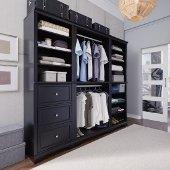 Bedford 3-Piece Closet Organizer in Satin Black, 25'' W x 20'' D x 82'' H, (3-Piece Wall Unit)