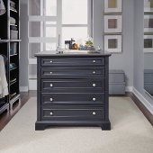36'' Wide Bedford Closet Island in Satin Black, 36'' W x 30-3/4'' D x 36'' H