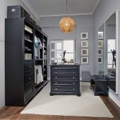Bedford 5-Piece Closet Organizer in Satin Black, 25'' W x 20'' D x 82'' H, (3-Piece Wall Unit, 36'' Closet Island and Bench)