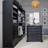 Bedford 4-Piece Closet Organizer in Satin Black, 25'' W x 20'' D x 82'' H, (3-Piece Wall Unit and 36'' Closet Island)