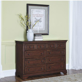 Lafayette 8-Drawer Dresser with 2-Top Drawers Felt Lined to Accommodate Lingerie or Jewelry, Elegant Moldings and Antique Brass Hardware in Cherry