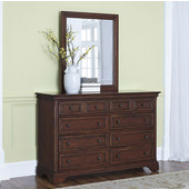 Lafayette 8-Drawer Dresser with Elegant Moldings, Antique Brass Hardware and Matching Wall Mirror in Black
