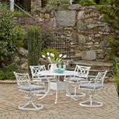 La Jolla Cast Aluminum Outdoor 42'' Round 5-Piece Dining Set in White Powder-Coated Finish, Set Includes: 42'' Table and (4) Swivel Rocking Chairs