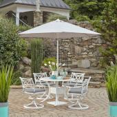 La Jolla Cast Aluminum Outdoor 42'' Round 5-Piece Dining Set w/ Umbrella & Base in White Powder-Coated Finish, Set Includes: 42'' Table and (4) Swivel Rocking Chairs