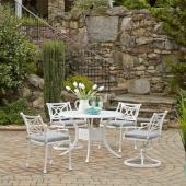 La Jolla Cast Aluminum Outdoor 42'' Round 5-Piece Dining Set in White Powder-Coated Finish, Set Includes: 42'' Table, (2) Arm Chairs, (2) Swivel Rocking Chairs