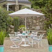 La Jolla Cast Aluminum Outdoor 42'' Round 5-Piece Dining Set w/ Umbrella & Base in White Powder-Coated Finish, Set Includes: 42'' Table, (2) Arm Chairs, (2) Swivel Rocking Chairs
