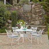 La Jolla Cast Aluminum Outdoor 42'' Round 5-Piece Dining Set in White Powder-Coated Finish, Set Includes: 42'' Table and (4) Arm Chairs