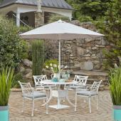 La Jolla Cast Aluminum Outdoor 42'' Round 5-Piece Dining Set w/ Umbrella & Base in White Powder-Coated Finish, Set Includes: 42'' Table and (4) Arm Chairs