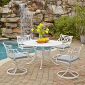 La Jolla Cast Aluminum Outdoor 48'' Round 5-Piece Dining Set in White Powder-Coated Finish, Set Includes: 48'' Table and (4) Swivel Rocking Chairs