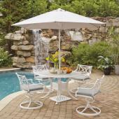 La Jolla Cast Aluminum Outdoor 48'' Round 5-Piece Dining Set w/ Umbrella & Base in White Powder-Coated Finish, Set Includes: 48'' Table and (4) Swivel Rocking Chairs