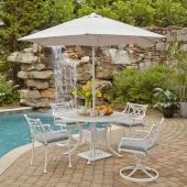 La Jolla Cast Aluminum Outdoor 48'' Round 5-Piece Dining Set w/ Umbrella & Base in White Powder-Coated Finish, Set Includes: 48'' Table, (2) Arm Chairs, (2) Swivel Rocking Chairs