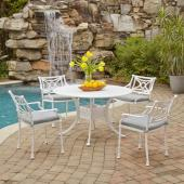 La Jolla Cast Aluminum Outdoor 48'' Round 5-Piece Dining Set in White Powder-Coated Finish, Set Includes: 48'' Table and (4) Arm Chairs