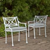 La Jolla Cast Aluminum Outdoor Pair of Arm Chairs in White Powder-Coated Finish, 24-3/4'' W x 23-3/4'' D x 31-1/2'' H