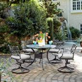 La Jolla Cast Aluminum Outdoor 42'' Round 5-Piece Dining Set in Gray Powder-Coated Finish, Set Includes: 42'' Table and (4) Swivel Rocking Chairs