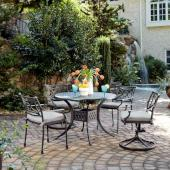 La Jolla Cast Aluminum Outdoor 42'' Round 5-Piece Dining Set in Gray Powder-Coated Finish, Set Includes: 42'' Table, (2) Arm Chairs, (2) Swivel Rocking Chairs