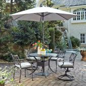 La Jolla Cast Aluminum Outdoor 42'' Round 5-Piece Dining Set w/ Umbrella & Base in Gray Powder-Coated Finish, Set Includes: 42'' Table, (2) Arm Chairs, (2) Swivel Rocking Chairs