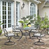 La Jolla Cast Aluminum Outdoor 48'' Round 5-Piece Dining Set in Gray Powder-Coated Finish, Set Includes: 48'' Table and (4) Swivel Rocking Chairs