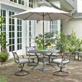 La Jolla Cast Aluminum Outdoor 48'' Round 5-Piece Dining Set w/ Umbrella & Base in Gray Powder-Coated Finish, Set Includes: 48'' Table and (4) Swivel Rocking Chairs