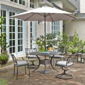 La Jolla Cast Aluminum Outdoor 48'' Round 5-Piece Dining Set w/ Umbrella & Base in Gray Powder-Coated Finish, Set Includes: 48'' Table, (2) Arm Chairs, (2) Swivel Rocking Chairs